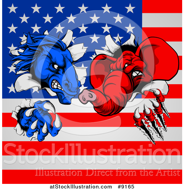 Vector Illustration of a Fierce Political Aggressive Democratic Donkey or Horse and Republican Elephant Shredding Through an American Flag