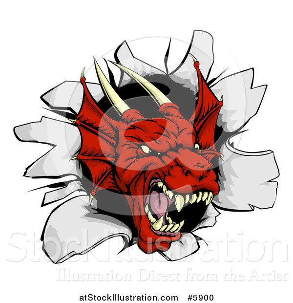 Vector Illustration of a Fierce Red Dragon Mascot Head Breaking Through a Wall