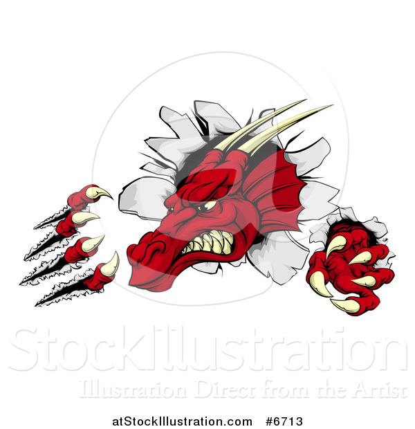 Vector Illustration of a Fierce Red Dragon Mascot Head Shredding Through a Wall