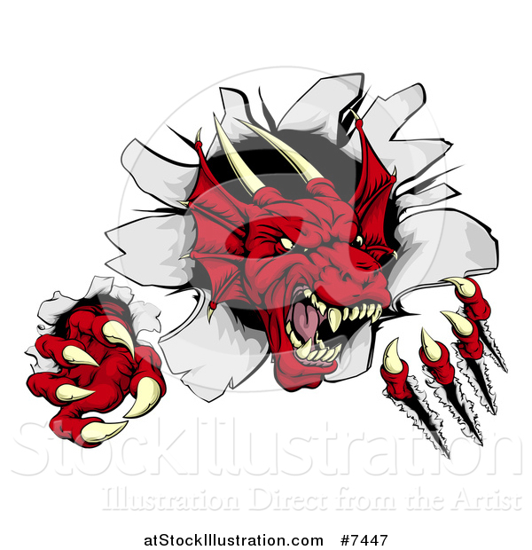 Vector Illustration of a Fierce Red Dragon Mascot Slashing Through a Wall