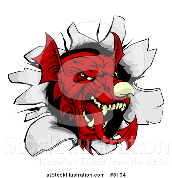 Vector Illustration of a Fierce Red Welsh Dragon Mascot Head Breaking Through a Wall