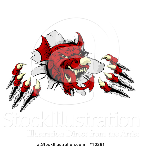 Vector Illustration of a Fierce Red Welsh Dragon Mascot Shredding Through a Wall