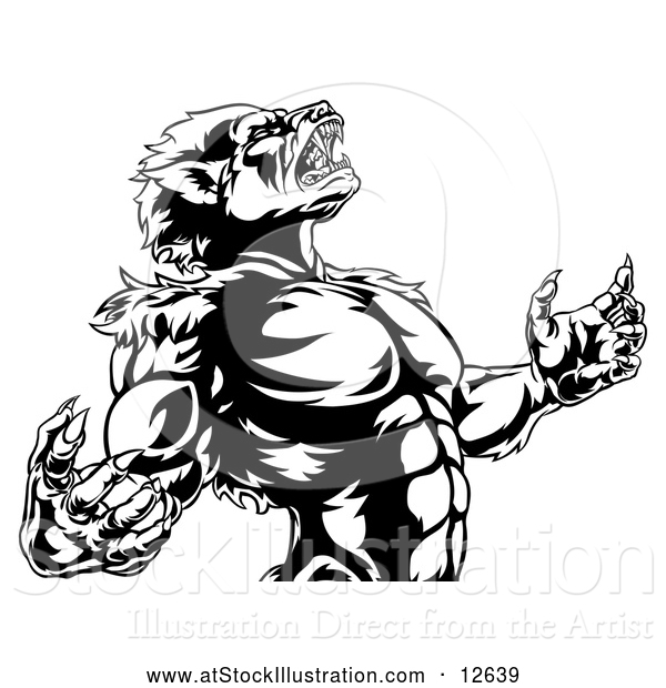 Vector Illustration of a Fierce Werewolf Mascot Howling Aggressively - Black and White