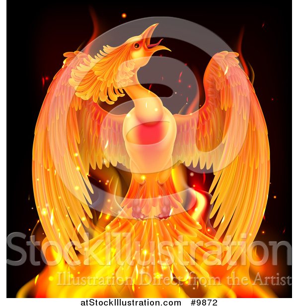 Vector Illustration of a Fiery Phoenix Bird Rising from Flames