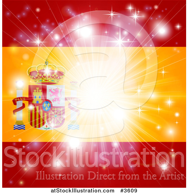 Vector Illustration of a Firework Burst over a Spanish Flag