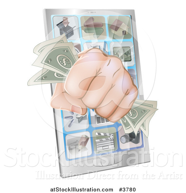 Vector Illustration of a Fist with Cash Emerging from a Smart Phone