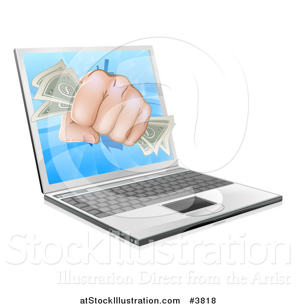 Vector Illustration of a Fist with Money Punching Through a Laptop Computer