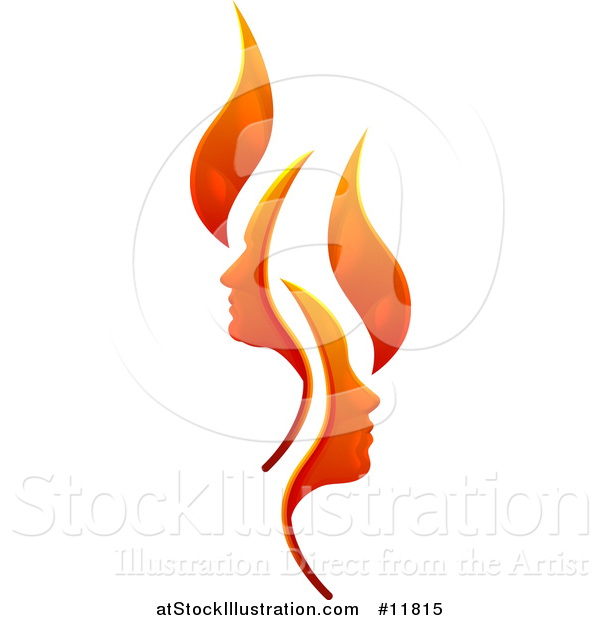 Vector Illustration of a Flame Design with Profiled Faces