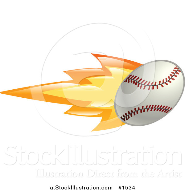 Vector Illustration of a Flaming Baseball Flying past