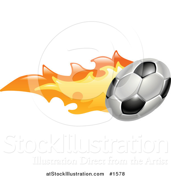 Vector Illustration of a Flaming Soccer Ball Flying past