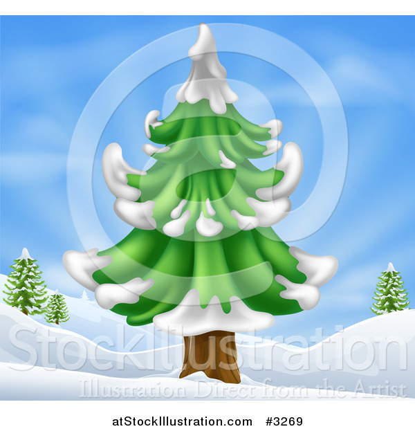 Vector Illustration of a Flocked Evergreen Tree in a Hilly Snow Landscape
