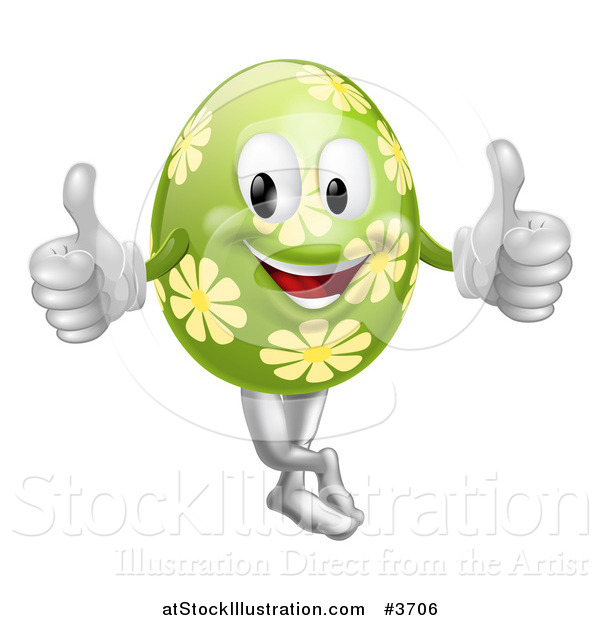 Vector Illustration of a Floral Green Easter Egg Mascot Holding Two Thumbs up