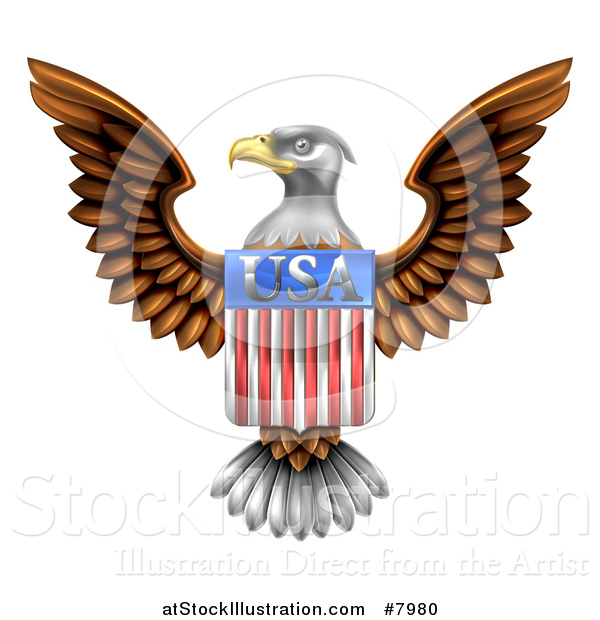 Vector Illustration of a Flying American Bald Eagle with a USA Flag Shield