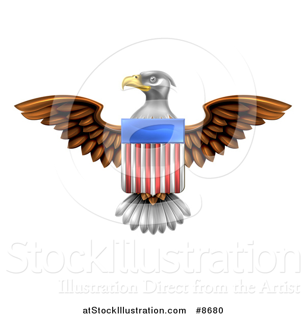 Vector Illustration of a Flying Bald Eagle with an American Flag Shield