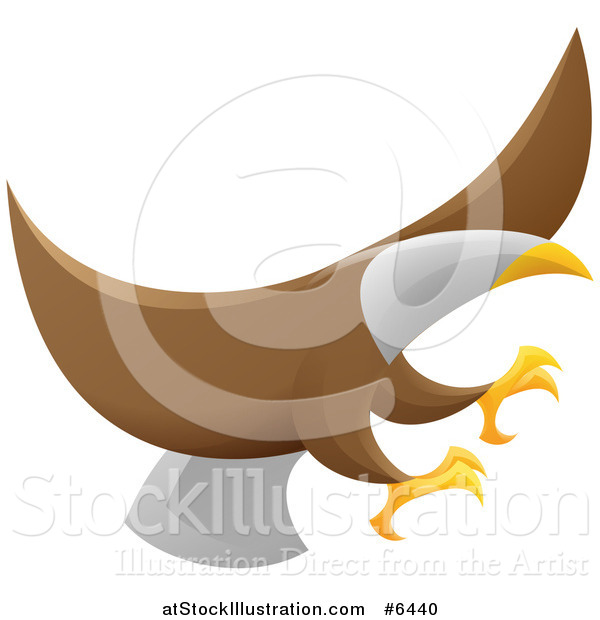 Vector Illustration of a Flying Bald Eagle with Extended Talons