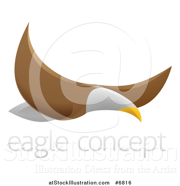 Vector Illustration of a Flying Bald Eagle with Sample Text