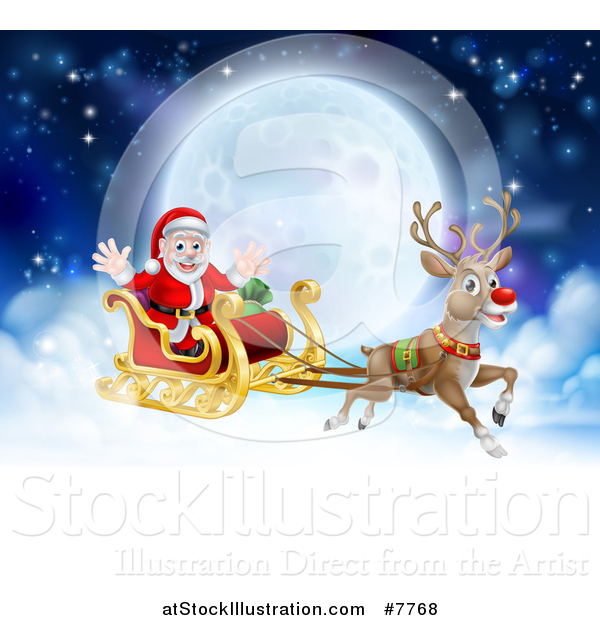 Vector Illustration of a Flying Magic Christmas Red Nosed Reindeer, Rudolph, Flying Santa in a Sleigh Above the Clouds Against a Full Moon