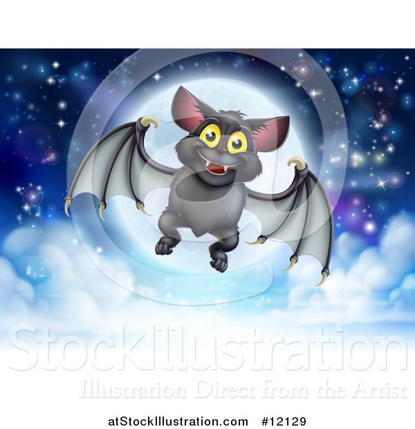 Vector Illustration of a Flying Vampire Bat over a Full Moon