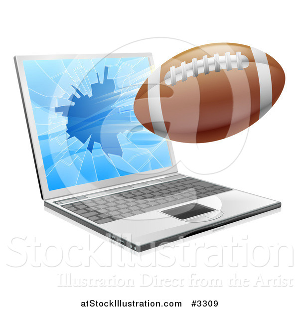 Vector Illustration of a Football Flying Through and Shattering a 3d Laptop Screen