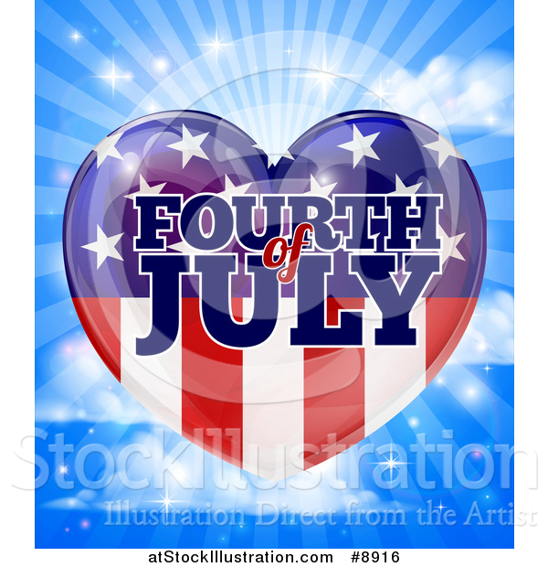 Vector Illustration of a Fourth of July American Flag Heart over a Blue Sky with Clouds and Rays