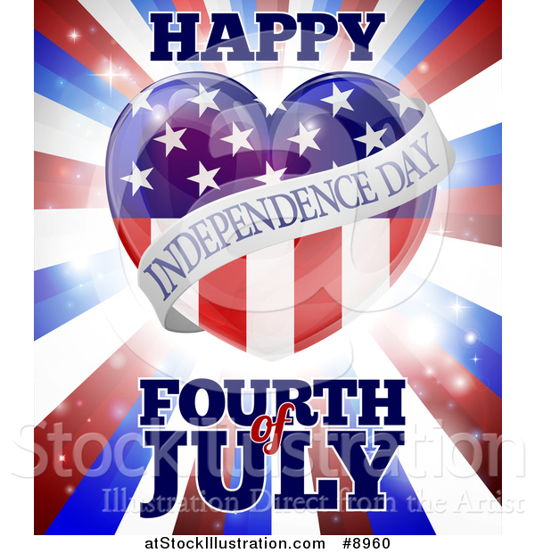 Vector Illustration of a Fourth of July Happy Independence Day American Flag Heart over Flares and Stripes