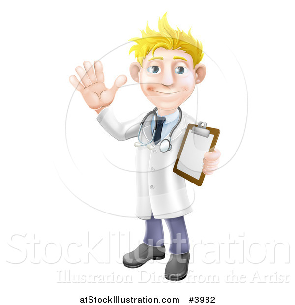 Vector Illustration of a Friendly Blond Male Doctor Waving and Holding a Medical Chart