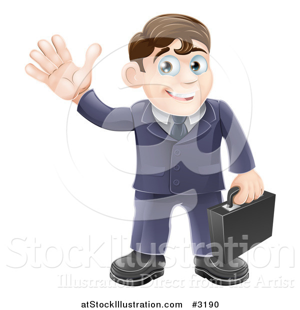 Vector Illustration of a Friendly Businessman Waving and Carrying a Briefcase