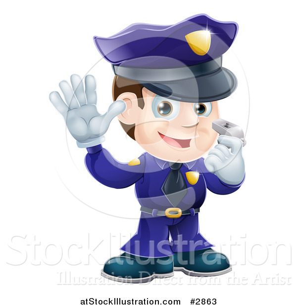 Vector Illustration of a Friendly Male Police Officer Holding a Hand up and Using a Whistle