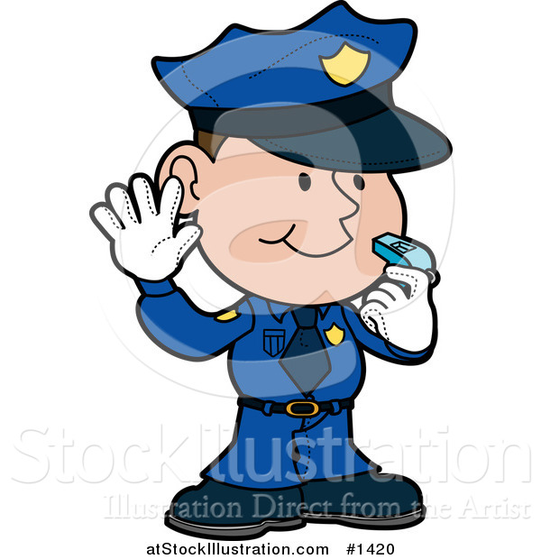 Vector Illustration of a Friendly Male Police Officer in a Blue Uniform and White Gloves, Holding His Hand up and Blowing a Whistle While Directint Traffic