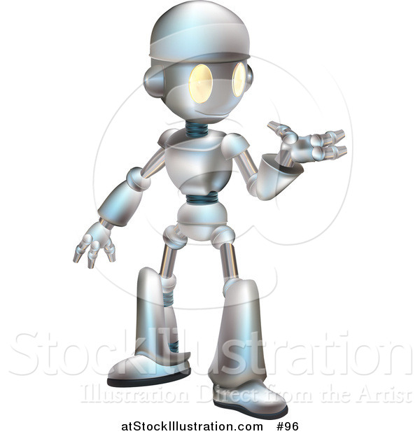 Vector Illustration of a Friendly Metal Robot Gesturing with One Hand