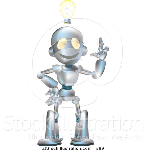 Vector Illustration of a Friendly Metal Robot with an Idea and a Lightbulb over His Head