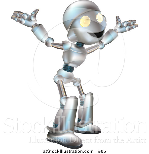 Vector Illustration of a Friendly Metal Robot with His Arms out