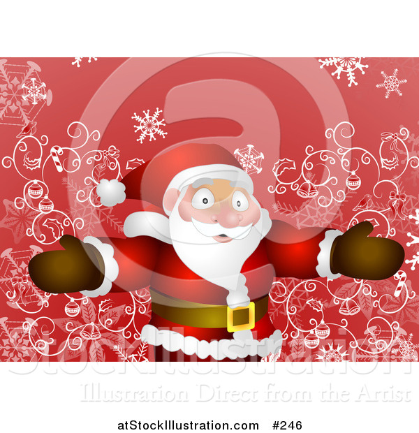 Vector Illustration of a Friendly Santa Standing with Open Arms over Red and Swirls