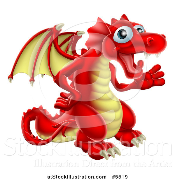 Vector Illustration of a Friendly Waving Red and Yellow Dragon