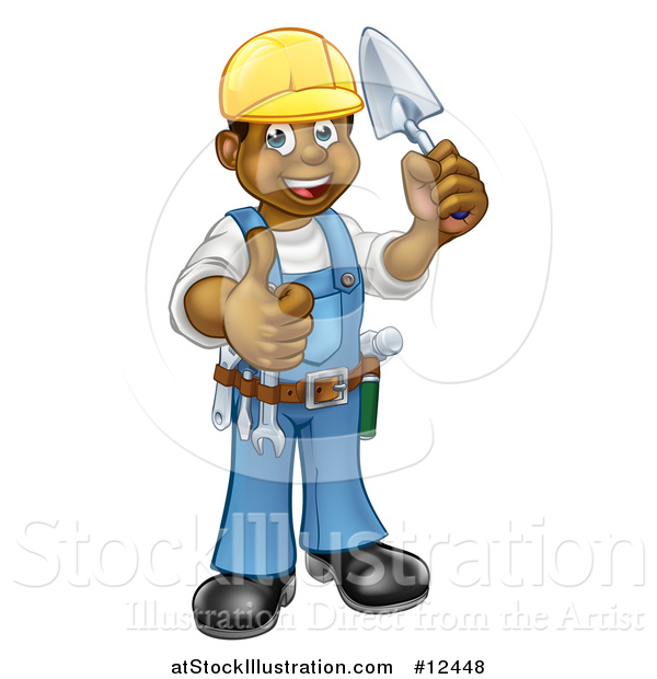 Vector Illustration of a Full Length Black Male Mason Worker Holding a Trowel and Giving a Thumb up