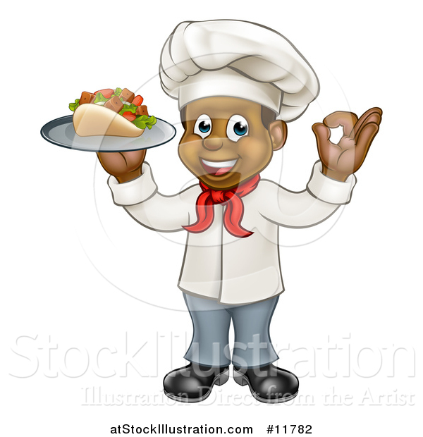 Vector Illustration of a Full Length Cartoon Black Male Chef Holding a Souvlaki Kebab Sandwich on a Tray and Gesturing Perfect