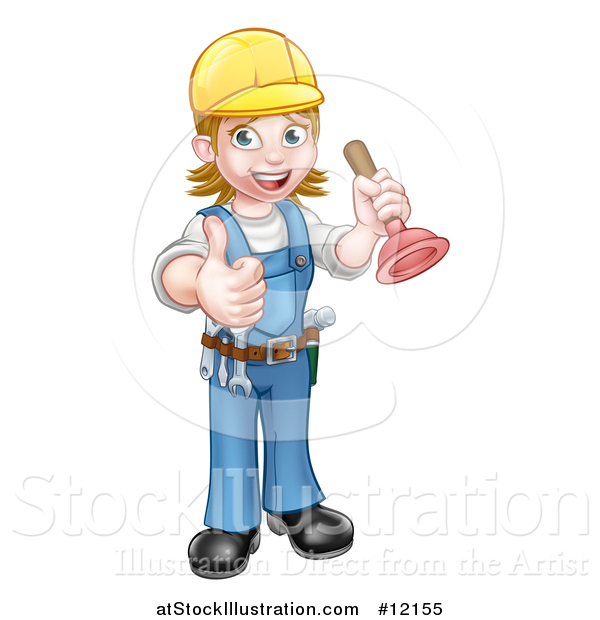 Vector Illustration of a Full Length Female Plumber Giving a Thumb up and Holding a Plunger