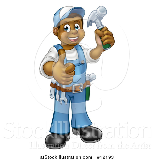 Vector Illustration of a Full Length Happy Black Male Carpenter Holding a Hammer and Giving a Thumb up