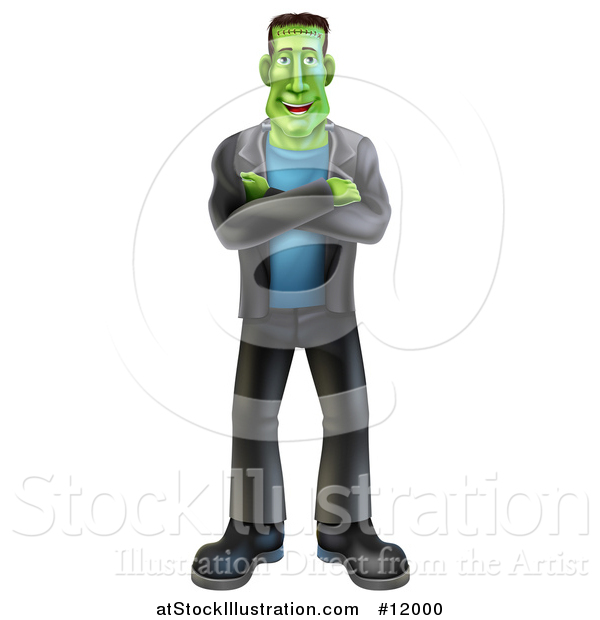 Vector Illustration of a Full Length Happy Frankenstein