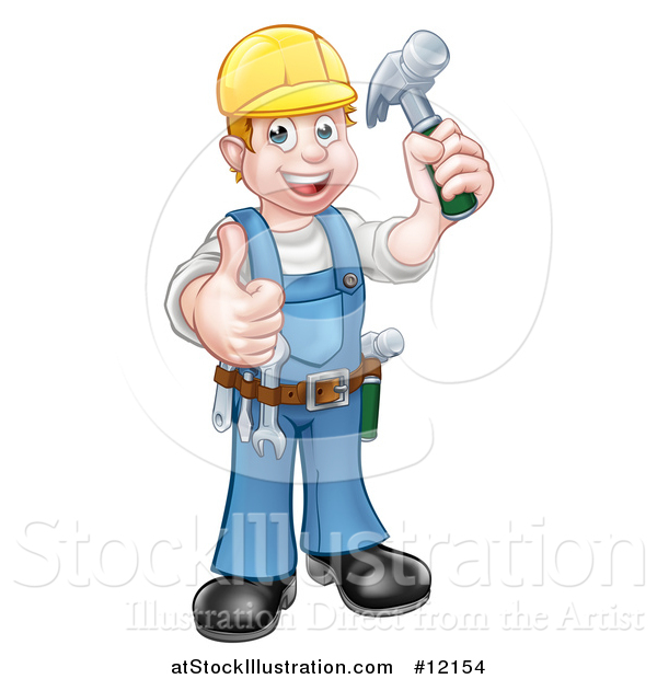 Vector Illustration of a Full Length Happy Male Carpenter Holding a Hammer and Giving a Thumb up