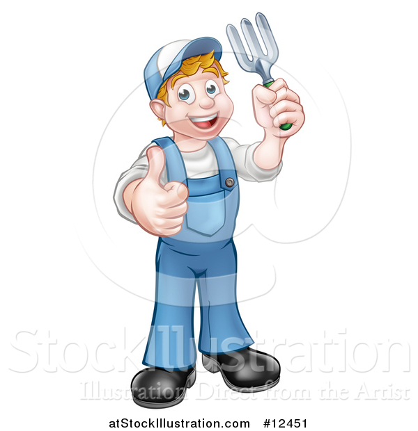 Vector Illustration of a Full Length White Male Gardener Holding a Garden Fork and Giving a Thumb up