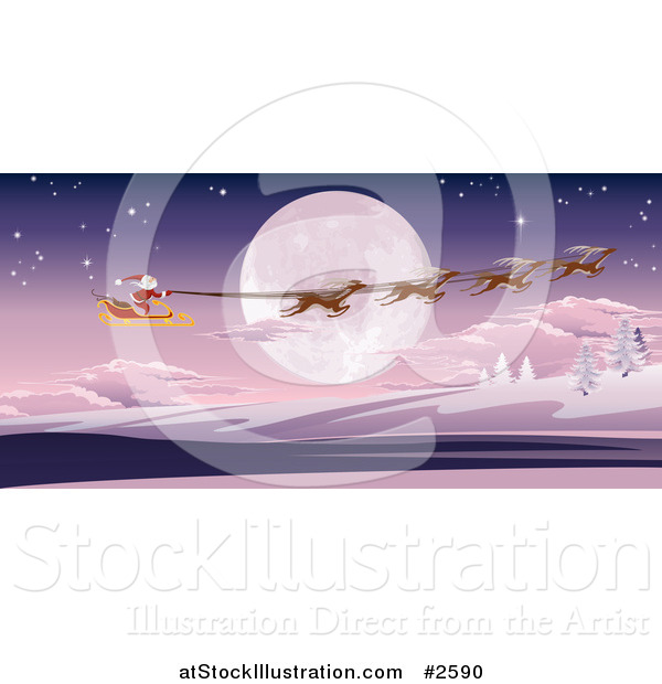 Vector Illustration of a Full Moon and Santas Sleigh