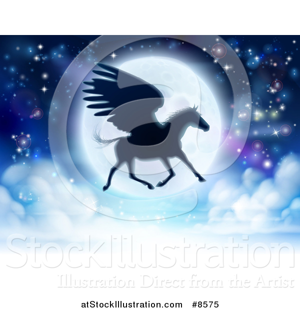 Vector Illustration of a Full Moon and Silhouetted Flying Pegasus