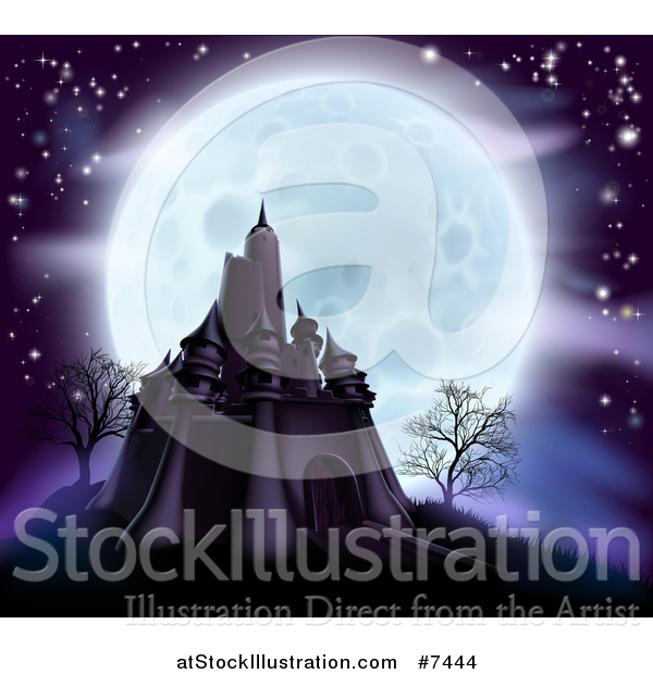 Vector Illustration of a Full Moon Behind a Halloween Haunted Castle with Bare Trees and Purple Tones