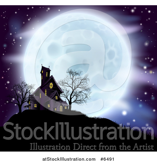 Vector Illustration of a Full Moon Behind a Haunted House and Bare Trees on a Hill