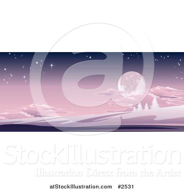 Vector Illustration of a Full Moon in a Purple Sky over a Winter Hilly Landscape