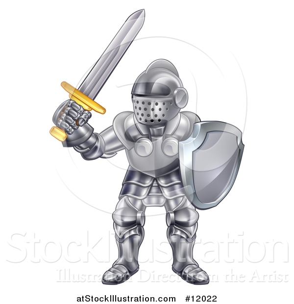 Vector Illustration of a Fully Armored Knight Holding a Sword and Shield