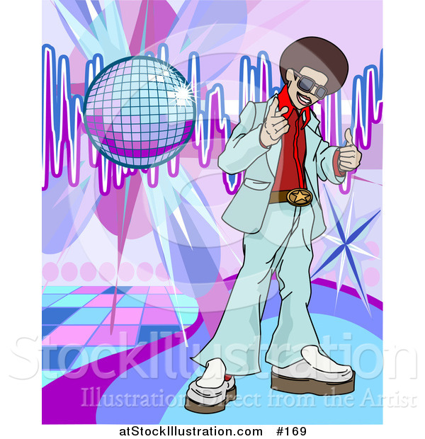 Vector Illustration of a Funkster Man with an Afro Standing on a Dance Floor Under a Disco Ball in a Club