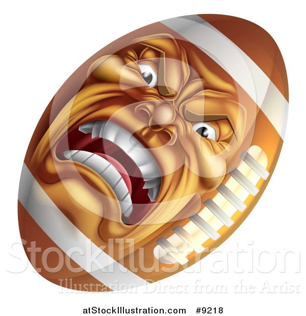 Vector Illustration of a Furious American Football Character Mascot
