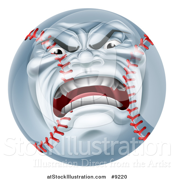 Vector Illustration of a Furious Baseball Character Mascot